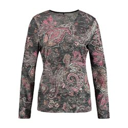 Gerry Weber Round Neck Paisley Print Top Grey