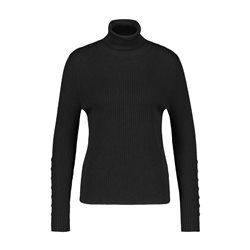 Gerry Weber Ribbed Turtle Neck With Button Detail Black