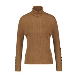 Gerry Weber Ribbed Turtle Neck With Button Detail Tobacco