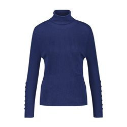 Gerry Weber Ribbed Turtle Neck With Button Detail Navy