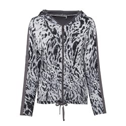 Monari Animal Print Zip Jacket Grey