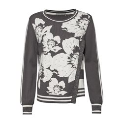 Monari Flower Print Jumper Grey
