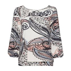 Monari Paisley Print Stretch Hem Top Cream