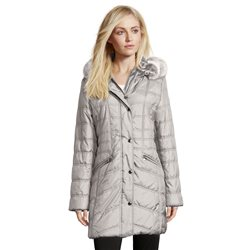 Betty Barclay Quilted Coat With Hood Silver