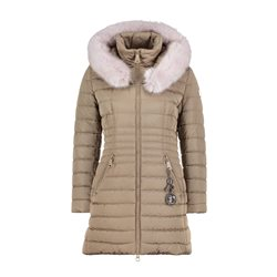 Betty Barclay Quilted Coat With Faux Fur Hood Camel