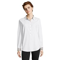Betty Barclay Cotton Shirt With Animal Trim White