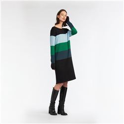 Sandwich Colour Block Pattern Dress Black