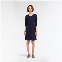 Sandwich A-Line Dress With Coated Piping Navy