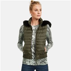 Taifun Quilted Gilet With Detachable Hood Khaki