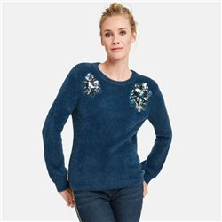 Taifun Jumper With Appliques Detail Blue