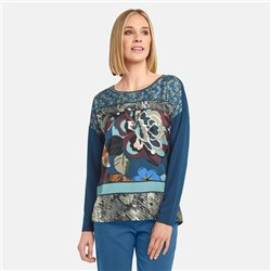 Taifun Floral Top With Satin Front Blue