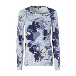 Olsen Round Neck Top With Floral Print Blue