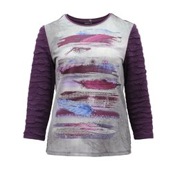 Lebek Feather Print Graphic Top Purple