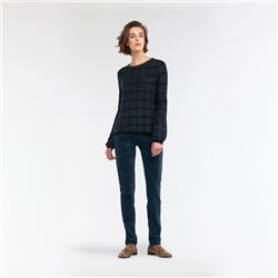 Sandwich Jacquard Mottled Sweater With Plaid Black