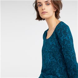 Sandwich Long Sleeve Top With Paisley Print Green
