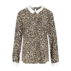 Gerry Weber Animal Print Blouse With Shirt Collar Cream