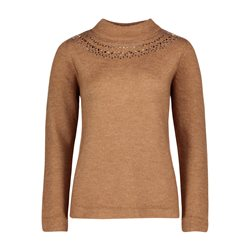 Betty Barclay High Neck Jumper With Jewel Detail Camel