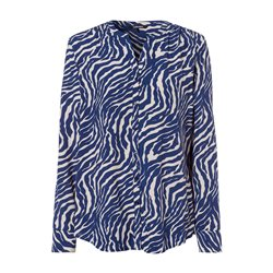 Olsen Long Sleeve Blouse With Animal Print Blue