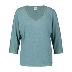 Taifun 3/4 Sleeve Top With Beaded Neckline Blue