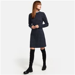 Taifun Check Pattern Dress Navy