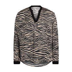 Betty & Co Animal Print Blouse Black