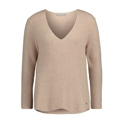 Betty & Co V Neck Knitted Jumper Beige