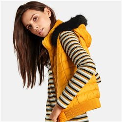 Taifun Quilted Gilet With Detachable Hood Saffron