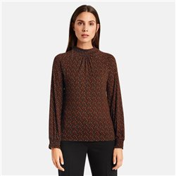 Taifun Turtle Neck Top With Paisley Design Black