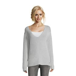 Betty & Co Ribbed V Neck Jumper Silver