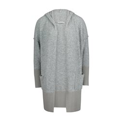 Betty & Co Longline Hooded Cardigan Silver