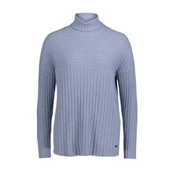 Betty & Co Ribbed Polo Neck Blue