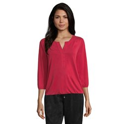 Betty & Co Pin Tuck V Neck Top Red
