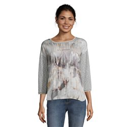 Betty & Co 3/4 Sleeve Printed Top Grey