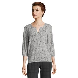 Betty & Co Leaf Print 3/4 Sleeve Top Silver