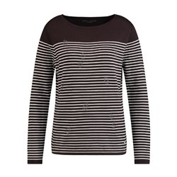 Gerry Weber Striped Jumper With Sparkle Detail Brown
