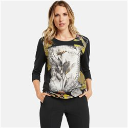 Gerry Weber 3/4 Sleeve Top With Graphic Front Black