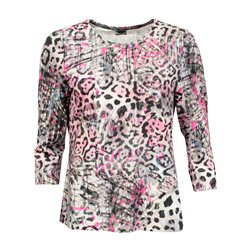 Lebek 3/4 Sleeve Printed Top Pink