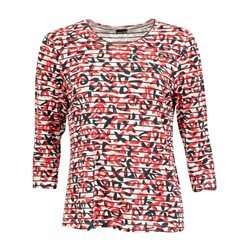 Lebek 3/4 Sleeve Printed Top Red