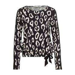 Monari Leo Print Top With Tie Detail Black