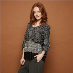 Masai Patterned Top Black