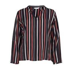 Masai V-Neck Stripe Blouse Red