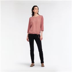 Sandwich Drawstring Front Top Blush
