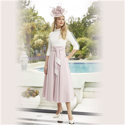 Ronald Joyce 29461 Dress With Tie Belt Blush