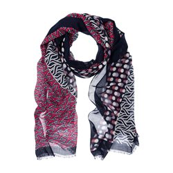 Olsen Spot And Graphic Print Scarf Red