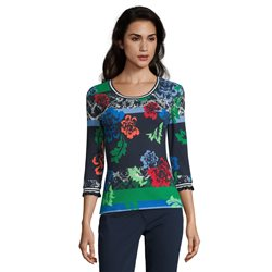 Betty Barclay Ribbed Floral Top Blue