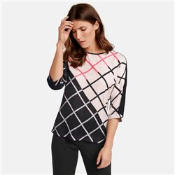 Gerry Weber 3/4 Sleeve Top With Colour Blocking Black