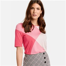 Gerry Weber 1/2 Sleeve Top With Colour Blocking White