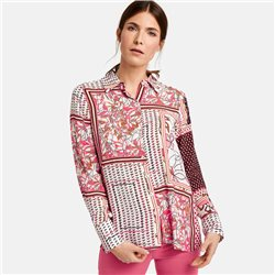 Gerry Weber Long Sleeve Blouse With A Patchwork Design Off White