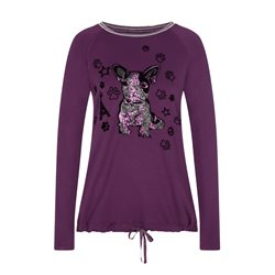 Lebek Long Sleeve Aniamal Graphic Top Purple