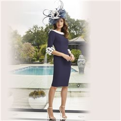 Ronald Joyce 29454 Cowl Neck Dress Navy